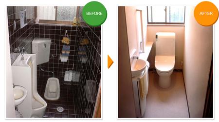 トイレを和式から洋式 ビフォアアフター