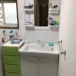 洗面所のクロス貼り替え・TOTO洗面台「Vシリーズ」設置 高砂市N様邸(洗面所リフォーム)