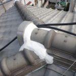 古くなって変色した屋根しっくいやり替え 加古川市A様邸(屋根工事)