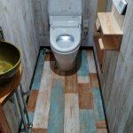 ビンテージな西海岸風、スヌーピーの壁紙を使ったトイレ 高砂市T様邸(トイレリフォーム)