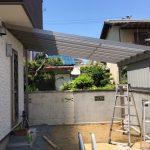建売住宅の庭に駐輪用テラス設置、リクシル「スピーネ」 高砂市I様邸(新築一戸建て、外構リフォーム)