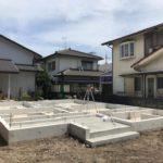基礎の立上り部分コンクリート打設、土台敷き 高砂市N様邸(新築工事②)